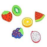 Lot de 12 adorables mini gommes écologiques, Fablcrew - En forme de fruits - Articles de papeterie pour étudiants