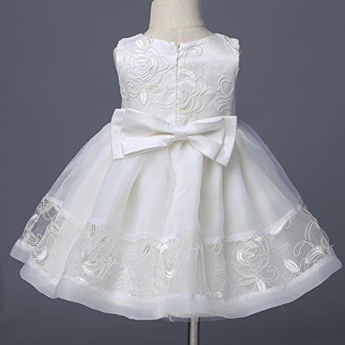 YiZYiF Baby Mädchen Taufkleid Gr. 62 68 80 86 92 Festlich Party Kleider Blumenmädchenkleid Ivory-Weiß mit Mütze Ivory 62 - 4