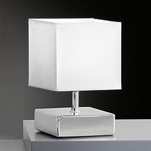 Tischleuchte Chrom Stoffschirm Weiß 96661 Deckenleuchte Spot Design Lampe Leuchte Beleuchtung