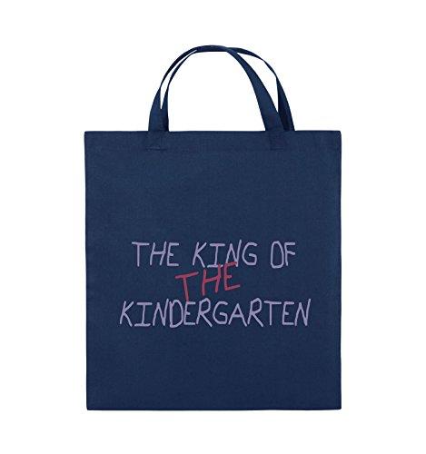 Comedy Bags - The king of the Kindergarten - Jutebeutel - kurze Henkel - 38x42cm - Farbe: Schwarz / Hellbraun-Beige Navy / Violet-Fuchsia