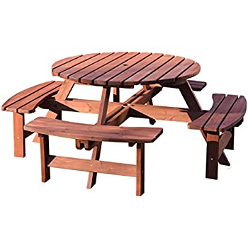 Ashwell Garden Wooden Picnic Bench   8 Seater   Circular Brown Pub Bench    Indoor Outdoor Heavy Duty Timber