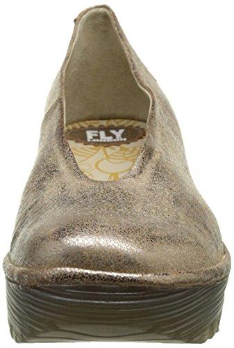 FLY London Yaz, Sandales Compensées  Femme Argent (Luna 205)