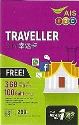 AIS - Thailand 4G Prepaid SIM-Karte - 2 St. (2 Nummern) 3GB Daten (mit 100 Minuten zum Telefonieren) - 8 Tage