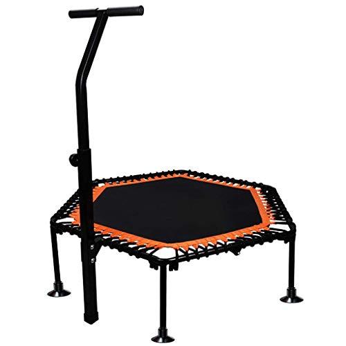 Bxxiu Handläufe Tragbares 40-Zoll-Fitness-Trampolin mit verstellbaren Armlehnen, faltbarem Revers, Mute-Aerobic-Trainer für Erwachsene und Kinder, maximale Belastung von 300 Pfund, Orange und Grün,Or