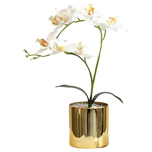 Kbsin212 fiori artificiali con vaso, composizioni floreali, simulazione phalaenopsis con vaso, per arredamento regalo per l'ufficio