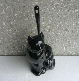 Toilettenbürstengarnitur aus Keramik in Form einer Katze schwarz hergestellt in Deutschland