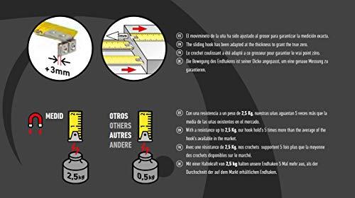 Medid MD/3419M Flexómetro con 2 imanes en la uña que aguantan una tensión de 2.5 Kg, 3 m x 19 mm