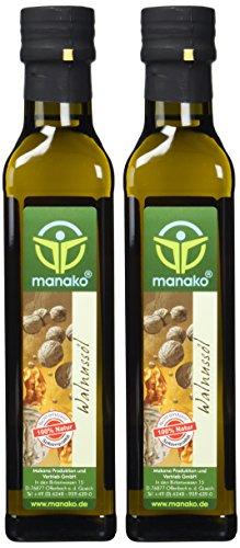 manako Walnussöl, raffiniert, 100% rein, 2 x 250 ml  Glasflasche (2 x 0,25 l) (100% Walnuss-Öl Natürliche)