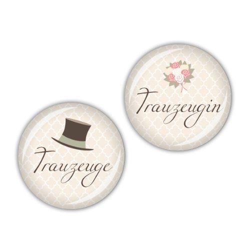 """Buttons """"Trauzeuge + Trauzeugin"""""""