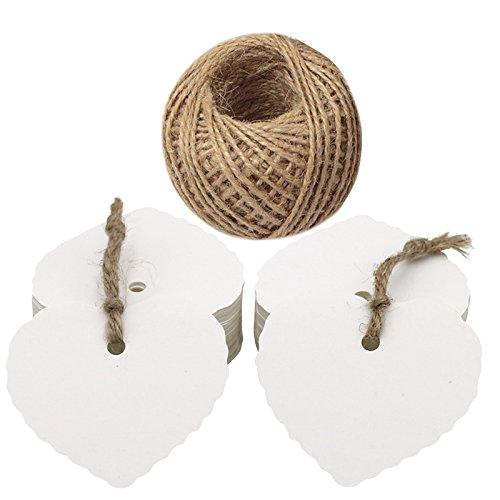 Stück Hochzeit Gunst Tags, weiße Geschenkanhänger, 6 cm x 5,5 cm Hang Tags mit Jute Bindfäden 30 Meter lang für Muttertag, Valentines Tags, DIY Crafts & Preisschilder ()
