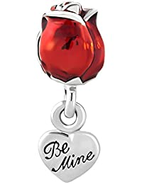 korliya rojo Rose Flores Charm Love You Be Mine diseño de cuentas para pulsera