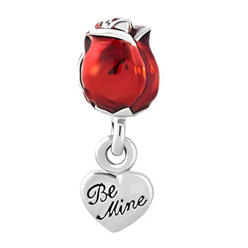 Korliya red rose flower charm love you be mine perlina per braccialetto