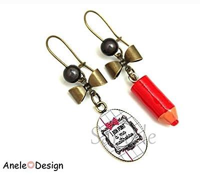 Boucles d'oreille Cadeau pour la maîtresse d'école - 1 Bon point à ma maîtresse - rouge noir blanc crayon nœud