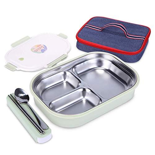 r, 304 Edelstahl isoliert, Lunchbox, erhöhen und vertiefen, 3 Gitter-Studierende Lunchbox mit Trennung (mit Geschirr-Isolierbeutel) ()
