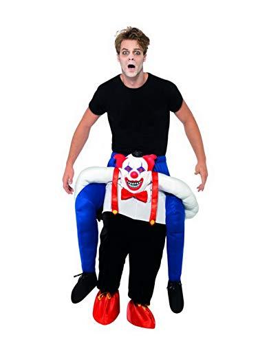 Luxuspiraten - Herren Männer Huckepack Kostüm, böser Clown trögt Dich, Einteiler Overall Jumpsuit, perfekt für Karneval, Fasching und Fastnacht, One Size, Blau