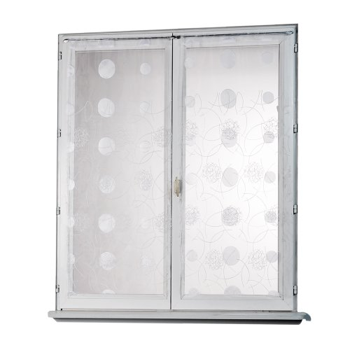 Homemaison HM69812818 - Visillo (organza, 60 x 120 cm), diseño recto con bordados de lunares, color blanco