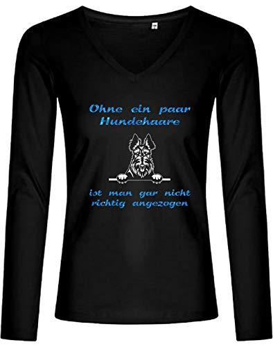 Scottish Terrier T-shirt (BlingelingShirts Glitzer Shirt Damen Hund Scottish Terrier Ohne EIN Paar Hundehaare, Longsleeve schwarz, Gr. S, Druck weiß + blau GL)
