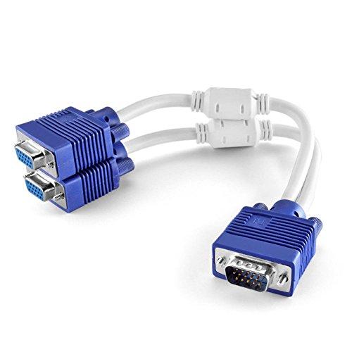 Vga Stecker Splitter-kabel (VGA SVGA Stecker auf 2Dual Weiblich Y Adapter Splitter Verteiler Kabel)