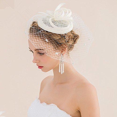 FANGYAO Tocado novia Europea malla vintage hechos a mano sombreros accesorios wedding del pelo