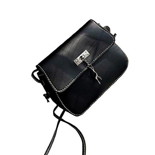 Xmansky Jahrgang Klein Leder Handtasche Beiläufig Tasche Schwarz