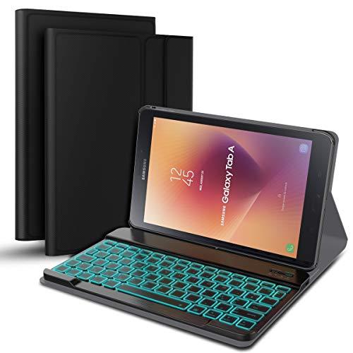 Wendapai Clavier Bluetooth Coque Samsung Galaxy Tab A 10.5 T595 T590, AZERTY français, Housse Clavier pour Samsung Galaxy Tab A 10.5 T595 T590,Clavier Bluetooth sans Fil Slim Etui Noir