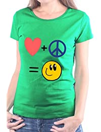 Mister Merchandise Femme Chemise T-Shirt Love Peace and Happyness