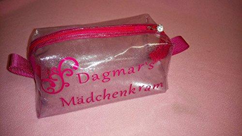 Schmink-/Kosmetik-Tasche Mädchenkram *Silbrig/Pink* Individualisierbar mit Namen Neu