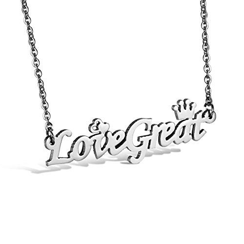 JewelryWe Gioielli lucido acciaio inossidabile corona & cuore