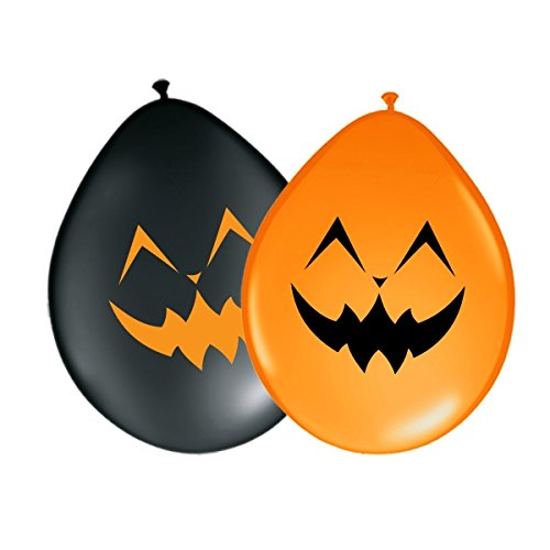 n - Glückliches Gesicht Ø 30 cm - Orange & Schwarz 10 Stück - partydiscount24® (Kürbis Glückliche Gesichter)