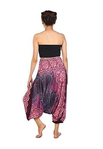 Lofbaz Damen Hippie Boho Hose 2 in 1 Haremshose & Jumpsuit Aladinhose Pumphose Rose 2 Violett