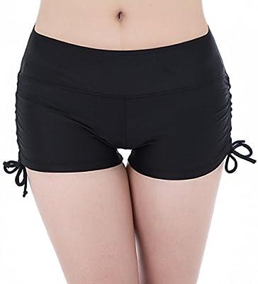 FLYILY Women's Sports Swim Shorts With Adjustable Drawstring Mini Boyshorts Bikini Swimwear Tankini Bottoms(FBA)