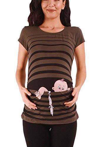 Baby Flucht - Lustige witzige süße Umstandsmode / Umstandsshirt mit Motiv für die Schwangerschaft / T-Shirt Schwangerschaftsshirt, Kurzarm (Khaki, Medium) (Shaper Super Footless)
