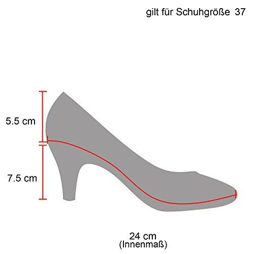 Klassische Damen Pumps Stilettos Abend Leder-Optik Glitzer Metallic Lack Schleifen Tanz Braut Schuhe 114961 Schwarz 36 Flandell