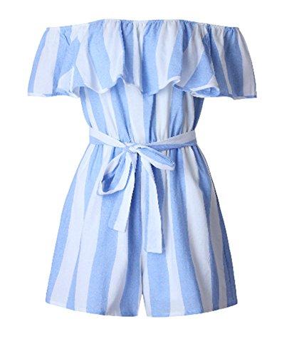 ASSKDAN Femme Sexy Combinaison Short Volant Bleu et Blanc à Rayure épaule Nu Manche Courte Bandage Jumpsuit Bleu