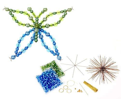 Betzold 56545 - Schmetterling Draht-Set, mit 12 Drahtsternen, 2 Verschiedene Größen, in grün / blau - Bastelset Perlen Kinder basteln Kindergarten Weihnachtsdeko Weihnachtsschmuck