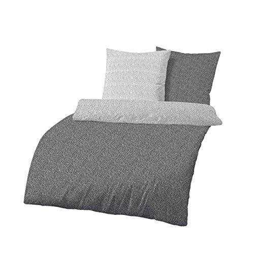 Träumschön Biber Bettwäsche 135x200 2tlg grau| Bettwäsche Muster Grau | Wendebettwäsche im modernen Design | Bettwäsche mit Reißverschluss Baumwolle