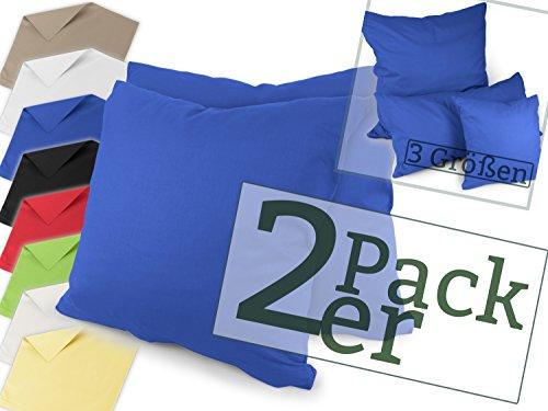 Renforcé-Kissenbezüge im Doppelpack - 100% Baumwolle – schlicht und edel im Design, in 8 Uni-Farben, 40 x 40 cm, royal