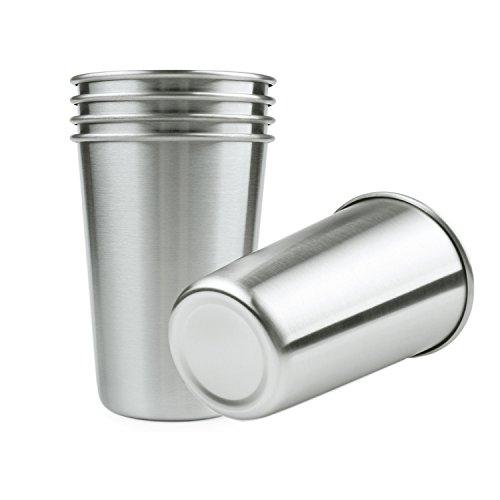 Lifestan 5 Pcs Becher 16 oz Edelstahl Pint Tassen für Bier Wasser Kaffee Tee Saft, Blei frei Einzelwand Metall Tumbler stapelbar, Anti-Fall dauerhafte Trinkbecher für Outdoor-Camping
