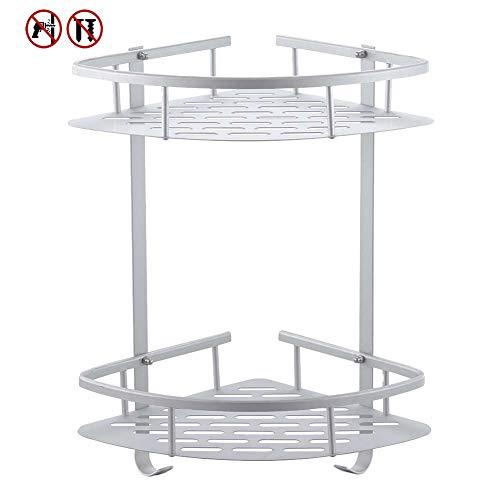 Kein Bohrer Badezimmer-Eckregale, Laimew Aluminium rostfrei klebendes Duschregal mit hängenden Haken (2 Ebenen)