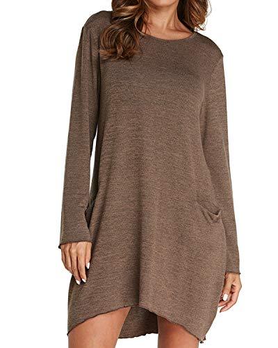 Auxo Damen Rundhals Langarm Shirts Lose T-Shirt mit Tasche Oversized Tops Longshirt Pullover Braun EU 44/Etikettgröße XL