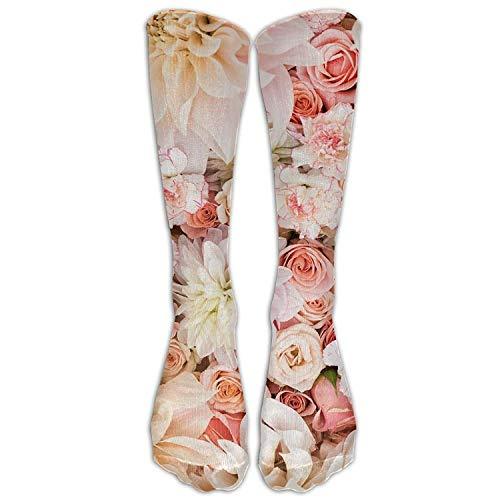 Bgejkos Langes Kleid Socken weiche Blütenblätter Rosen erröten rosa Creme Fußball bequem atmungsaktiv über der Wade Rohr -