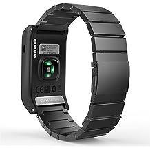 MoKo Garmin Vivoactive HR Watch Cinturino, Braccialetto Regolabile in Acciaio Inossidabile con Chiusura Pieghevole con Strumenti per Garmin Vivoactive HR Sports GPS Smart Watch - NERO