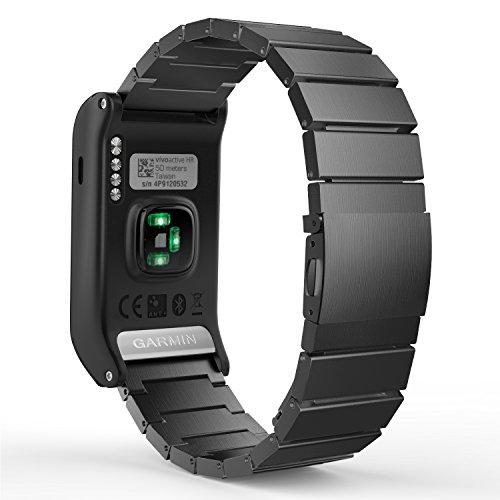 MoKo Garmin vívoactive HR Watch Armband, Edelstahl Replacement Wrist Band Watchband Strap Uhrenarmband Erstatzband mit Metallschließe und Schnalle für Garmin vívoactive HR Sport GPS-Smartwatch, Schwarz