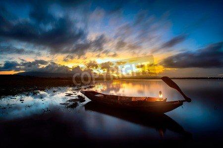 "Alu-Dibond-Bild 80 x 50 cm: ""Sunrise over the lake the first rays of sun"", Bild auf Alu-Dibond"