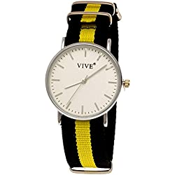 36Pure Time Unisex Textile Watch Super Flat, Black, Yellow, incl. Watch Box