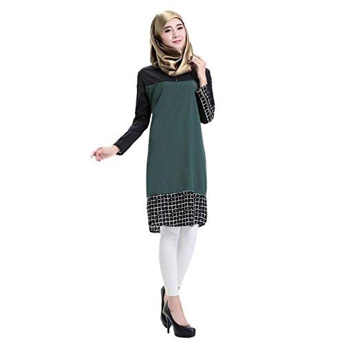 Deylaying Muslim Plaid Stitching Lange Ärmel Turkish Robes Bekleidung islamisch Arab Frauen...