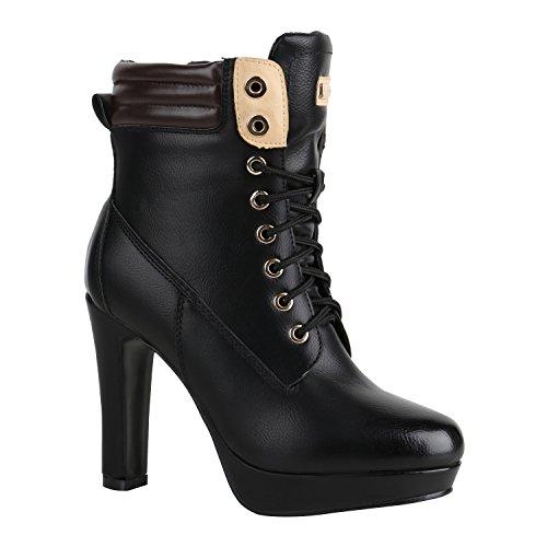 Gefütterte Damen Worker Boots Holzoptikabsatz Stiefeletten Schuhe 149015 Schwarz Braun 36 Flandell
