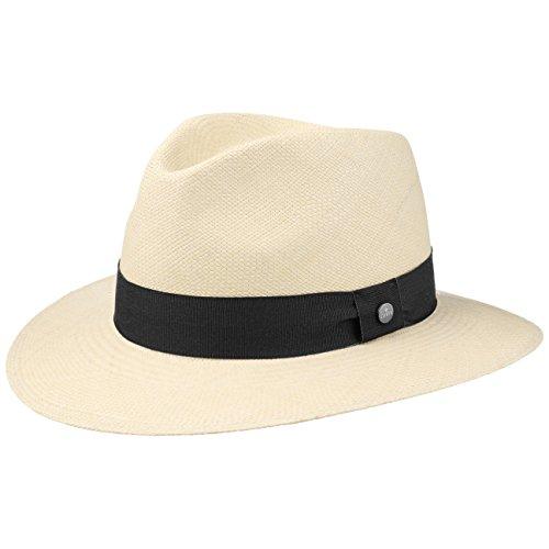 Lierys The Sophisticated Panamahut Damen/Herren   Handmade in Ecuador   Panamastrohhut   Strohhut aus Panamastroh   Sommerhut mit Ripsband Natur-schwarz XL (61-62 cm)