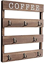 Emaison Coffee Mug Holder, Wall Mounted Rustic Wood Cup Organizer with 8 Hooks for Home, Kitchen Display Stora