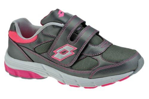 Lotto Vienna VI Jr Paire de chaussures de sport basses à Velcro pour enfant Gris / Rose